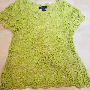 Green crochet floral top size small